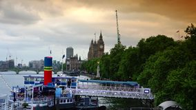 ULTRA HD 4k, real time, Big Ben along Thames with traffic. LONDON - circa 2015: Big Ben seen now named Elizabeth Tower in the distance with London city traffic stock video