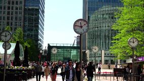 ULTRA HD 4k, real time, Businessmen going to work in Canary Wharf in London. stock footage