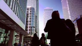 ULTRA HD 4k, real time, Businessmen going to work in Canary Wharf in London.
