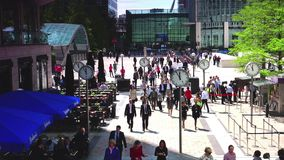 ULTRA HD 4k, real time, Businessmen going to work in Canary Wharf in London. stock video