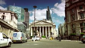 ULTRA HD 4k, real time, Busy traffic on the road in front of Bank in London. stock video