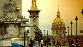 ULTRA HD 4k, real time, Car traffic in Paris on bridge Pont Alexander III. PARIS, FRANCE - June 27, 2015 Car traffic in Paris on bridge Pont Alexander III stock video