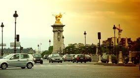 ULTRA HD 4k, real time, Car traffic in Paris on bridge Pont Alexander III. PARIS, FRANCE - June 27, 2015 Car traffic in Paris on bridge Pont Alexander III stock video footage