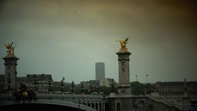 ULTRA HD 4k, real time, Car traffic in Paris on bridge Pont Alexander III. stock video footage