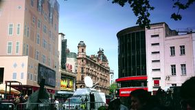 ULTRA HD 4k, real time, Centre London Cinema and Shopping Street in Leicester Square. LONDON, ENGLAND - MAY 30, 2015: Centre London Cinema and Shopping Street in stock video