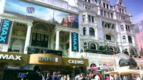 ULTRA HD 4k, real time, Centre London Cinema and Shopping Street in Leicester Square. LONDON, ENGLAND - MAY 30, 2015: Centre London Cinema and Shopping Street in stock footage