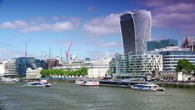 ULTRA HD 4k, real time, City of London Financial District. LONDON, UK-circa2015:The City of London Financial District. Towers include 20 Fenchurch Street known stock video footage