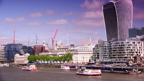 ULTRA HD 4k, real time, City of London Financial District. LONDON, UK-circa2015:The City of London Financial District. Towers include 20 Fenchurch Street known stock video