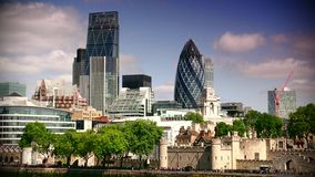 ULTRA HD 4k, real time, City of London Financial District. LONDON, UK-circa2015:The City of London Financial District. Towers include 20 Fenchurch Street known stock footage
