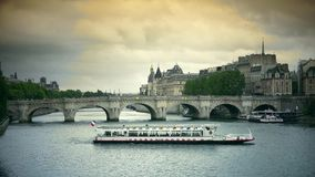 ULTRA HD 4k, real time, France, Paris, embankment of river Seine and Pont Neuf in Paris stock footage