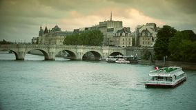 ULTRA HD 4k, real time, France, Paris, embankment of river Seine and Pont Neuf in Paris stock video