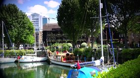 ULTRA HD 4k,real time, London Marina and yachts pictured, in London, stock video