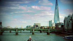 ULTRA HD 4k, real time, London skyline on Thames river with Shard in the background. stock video footage