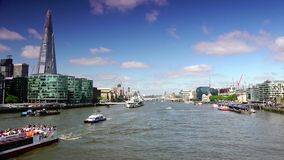 ULTRA HD 4k, real time, London skyline on Thames river with Shard in the background. stock video