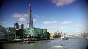 ULTRA HD 4k, real time, London skyline on Thames river with Shard in the background. stock footage