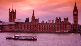 ULTRA HD 4k, real time, the Parliament and Big Ben from Westminster bridge stock video