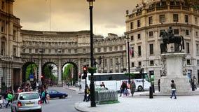 ULTRA HD 4k, real time, People visit Trafalgar Square on June, 2015 in London stock video footage