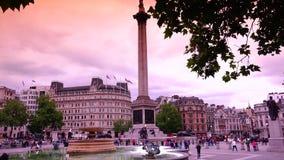 ULTRA HD 4k, real time, People visit Trafalgar Square on June, 2015 in London stock footage
