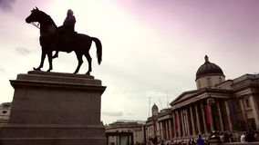 ULTRA HD 4k, real time, People visit Trafalgar Square on June, 2015 in London stock video