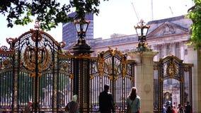 ULTRA HD 4k, real time, People walking near the Buckingham Palace, in London. LONDON, UNITED KINGDOM - circa 2015: People walking near the Buckingham Palace stock video footage