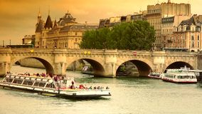 ULTRA HD 4k, real time, The Pont Neuf bridge in Paris stock video footage
