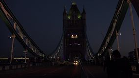 ULTRA HD 4k, real time, Tower Bridge is an iconic symbol of London in night stock footage