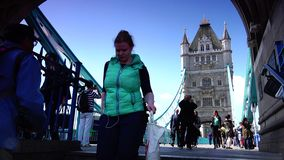 ULTRA HD 4k, real time, Tower Bridge is an iconic symbol of London in sunny day stock footage