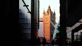 ULTRA HD 4k, real time, Tower Bridge is an iconic symbol of London in sunset stock footage