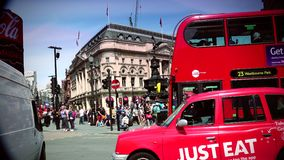 ULTRA HD 4k, real time, Traffic and pedestrians on Piccadilly Circus in a sunny day stock footage