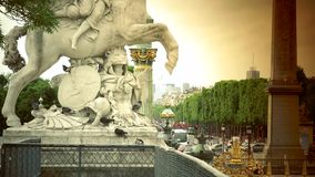ULTRA HD 4K, real time, zoom;Famous Golden fountain in the Place du Concorde. Paris, France-circa 2015: Famous Golden fountain in the Place du Concorde, ultra hd stock footage