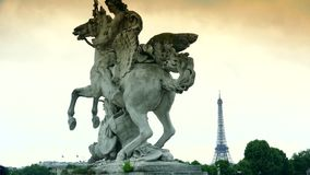 ULTRA HD 4K, real time, zoom;Famous Golden fountain in the Place du Concorde stock footage