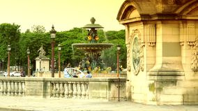 ULTRA HD 4K, real time, zoom;Famous Golden fountain in the Place du Concorde stock video footage