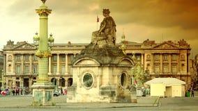 ULTRA HD 4K, real time, zoom;Famous Place du Concorde in Paris. Paris, France-circa 2015: Famous Place du Concorde in Paris, ultra hd 4k, real time, zooming stock video footage