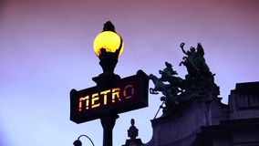 ULTRA HD 4K, real time, zoom, Metropolitain sign indicates a Paris metro station. stock video footage