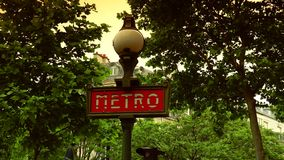 ULTRA HD 4K, real time, zoom, Metropolitain sign indicates a Paris metro station. stock footage
