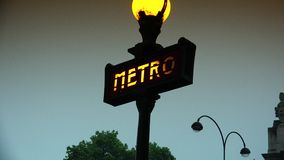 ULTRA HD 4K, real time, zoom, Metropolitain sign indicates a Paris metro station. stock video