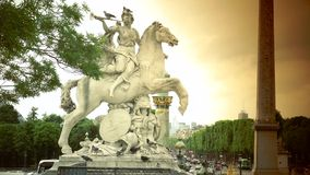 ULTRA HD 4K, real time, zoom;Statue of Perseus on place de la Concorde in Paris in France. Paris, France-circa 2015: Statue of Perseus on place de la Concorde in stock footage
