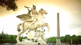 ULTRA HD 4K, real time, zoom;Statue of Perseus on place de la Concorde in Paris in France stock footage