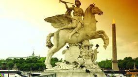 ULTRA HD 4K, real time, zoom;Statue of Perseus on place de la Concorde in Paris in France. Paris, France-circa 2015: Statue of Perseus on place de la Concorde in stock video