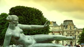 ULTRA HD 4K, real time, zoom; Statues from Jardin des Tuileries, in Paris. stock video footage