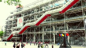 ULTRA HD 4K, real time, zooming; Centre Georges Pompidou in style of high-tech architecture. PARIS, FRANCE - May 22, 2015: Centre Georges Pompidou (1977) was stock video footage