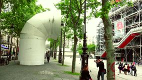 ULTRA HD 4K, real time, zooming; Centre Georges Pompidou in style of high-tech architecture. PARIS, FRANCE - May 22, 2015: Centre Georges Pompidou (1977) was stock video