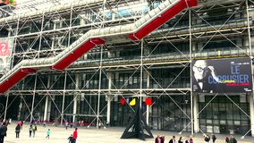 ULTRA HD 4K, real time, zooming; Centre Georges Pompidou in style of high-tech architecture. PARIS, FRANCE - May 22, 2015: Centre Georges Pompidou (1977) was stock footage