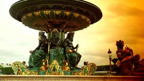 ULTRA HD 4K, real time, zooming;Famous Golden fountain in the Place du Concorde, detail. Paris, France-circa 2015: Famous Golden fountain in the Place du stock footage