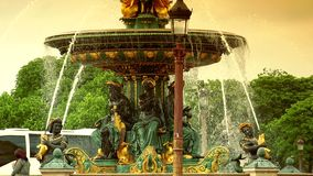 ULTRA HD 4K, real time, zooming;Famous Golden fountain in the Place du Concorde, detail. Paris, France-circa 2015: Famous Golden fountain in the Place du stock video