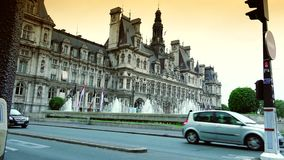 ULTRA HD 4K, real time, zooming; The Hotel de Ville, or City Hall in Paris. PARIS, FRANCE - MAY 10th: Hotel de Ville in Paris on May 10th, 2015. The Hotel de stock video footage