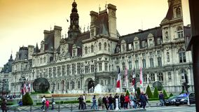 ULTRA HD 4K, real time, zooming; The Hotel de Ville, or City Hall in Paris. PARIS, FRANCE - MAY 10th: Hotel de Ville in Paris on May 10th, 2015. The Hotel de stock footage