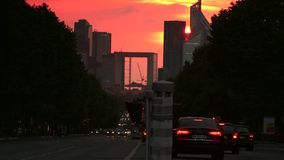 ULTRA HD 4K, real time, zooming; La Defense, a major business district of Paris, during sunset stock video
