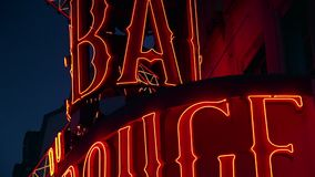 ULTRA HD 4K, real time, zooming; The Moulin Rouge by night,. PARIS - circa 2015: The Moulin Rouge by night, on May in Paris, France. Moulin Rouge is a famous stock footage