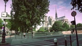 ULTRA HD 4K, real time, zooming; Notre-Dame is one of the most famous landmarks of Paris. stock footage